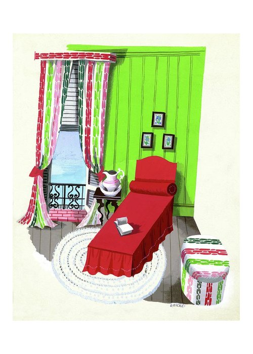 Illustration Greeting Card featuring the digital art A Red Bed In A Bedroom by Edna Eicke