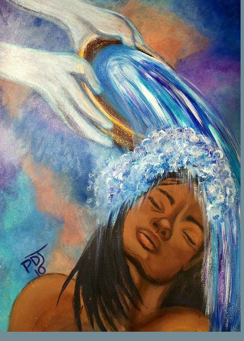 Spirit Greeting Card featuring the painting A Refreshing by Pamorama Jones