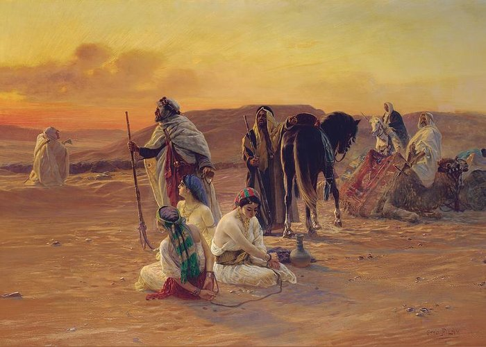 Rest Greeting Card featuring the painting A Rest In The Desert by Otto Pilny