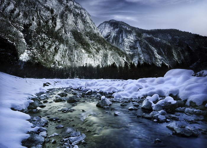 Georgia Greeting Card featuring the photograph A River Flowing Through The Snowy by Evgeny Kuklev