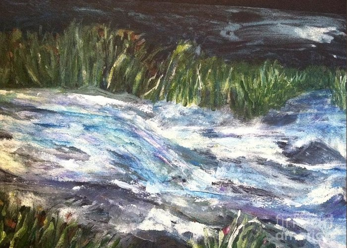Orchards Greeting Card featuring the painting A River Runs Through by Sherry Harradence