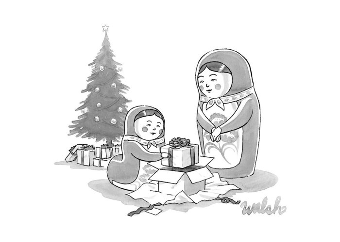 A russian doll mother and daughter open christmas greeting card for captionless russian nesting doll greeting card featuring the drawing a russian doll mother and daughter open m4hsunfo