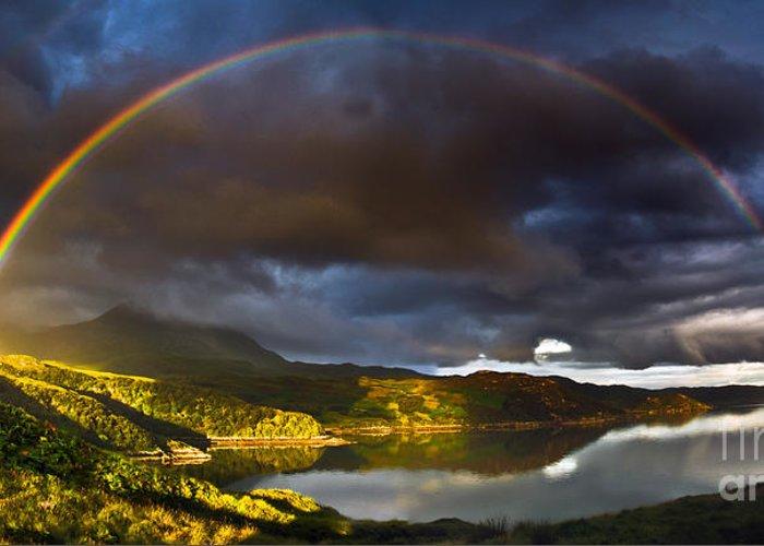 Kylesku Greeting Card featuring the photograph A Scottish Highland Rainbow Kylesku by John Farnan