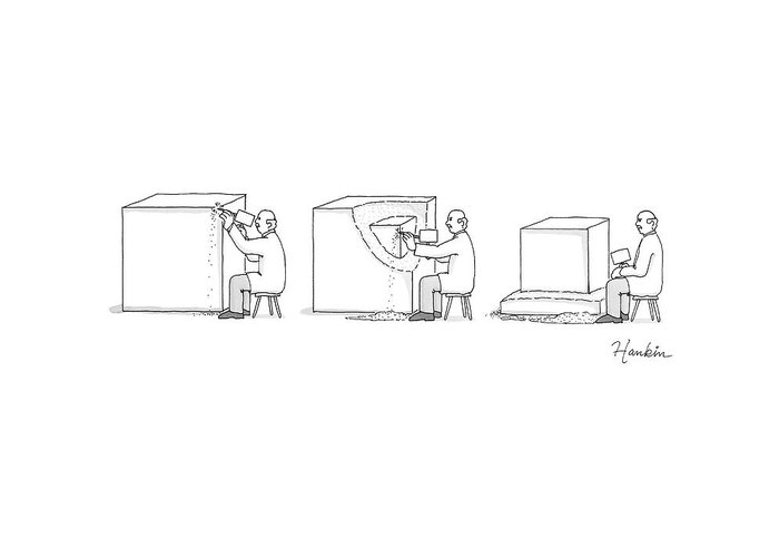 Captionless Greeting Card featuring the drawing A Sculptor Carves a Cube Out of a Cube by Charlie Hankin