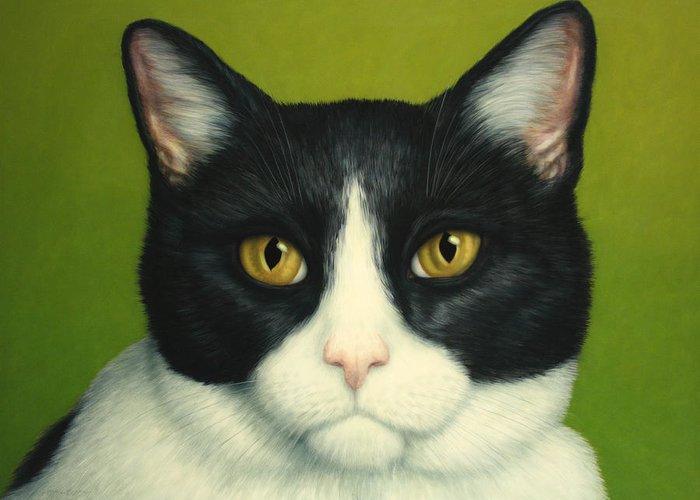 Serious Greeting Card featuring the painting A Serious Cat by James W Johnson