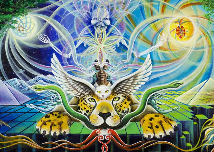 Jaguar Greeting Card featuring the painting A Shaman's Journey Through The Heart Of The Sun by Morgan Mandala Manley