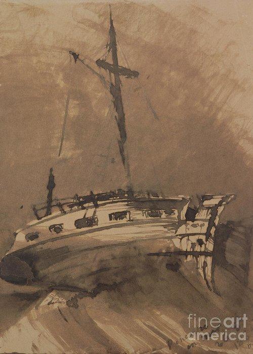 A Ship In Choppy Seas Greeting Card featuring the painting A Ship In Choppy Seas by Victor Hugo