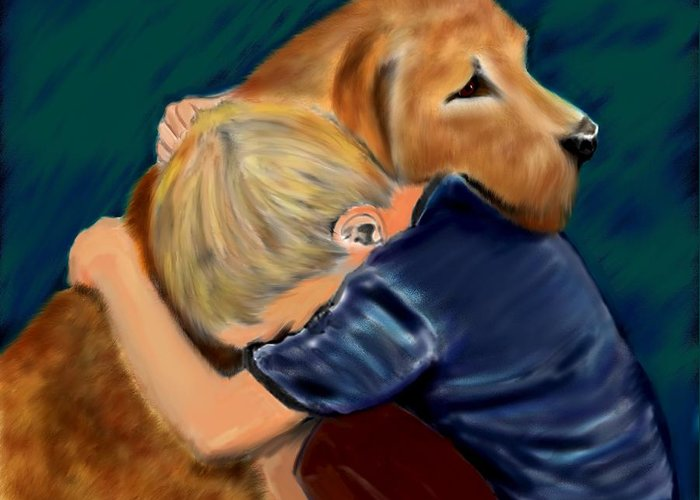 Dog Greeting Card featuring the painting A Shoulder To Cry On by Shere Crossman
