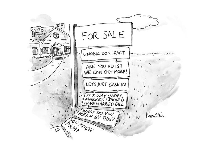 Captionless Greeting Card featuring the drawing A Sign Stands In Front Of A House by Ken Krimstein