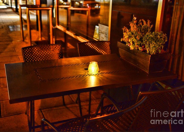 Dining Greeting Card featuring the photograph A Single Candle Burns. by Paul Ward