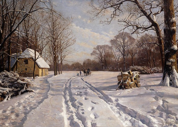 Danish Greeting Card featuring the painting A Sleigh Ride Through A Winter Landscape by Peder Monsted