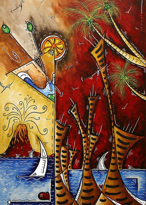 Original Greeting Card featuring the painting A Slice Of Paradise By Madart by Megan Duncanson