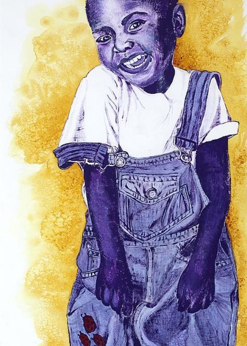 Orphan Greeting Card featuring the painting A Smile For You From Haiti by Margaret Bobb
