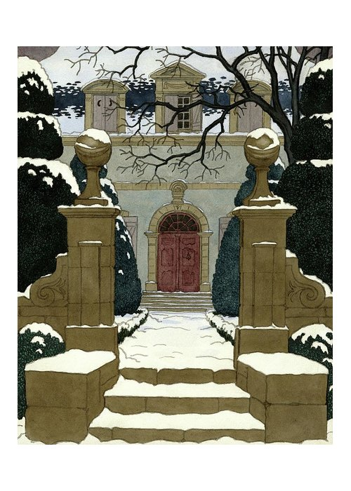 Exterior Greeting Card featuring the digital art A Snow Covered Pathway Leading To A Mansion by Pierre Brissaud