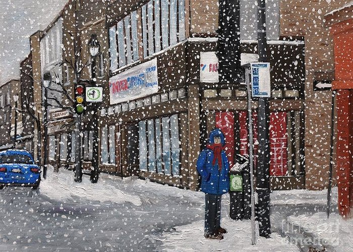 Verdun Winter Scenes Greeting Card featuring the painting A Snowy Day On Wellington by Reb Frost