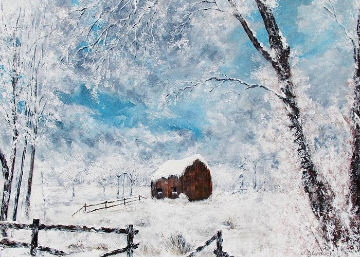 Landscape Greeting Card featuring the painting A Snowy Winters Day by Walter Carrick