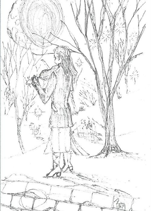 Pen And Ink Greeting Card featuring the drawing A Song For The Night - Sketch by Robert Meszaros