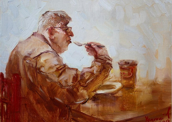 Tim Hortons Greeting Card featuring the painting A Soupe Break At Tim Hortons by Ylli Haruni