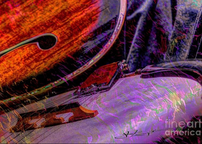 Acoustic Greeting Card featuring the photograph A Southern Combination Digital Banjo And Guitar Art By Steven Langston by Steven Lebron Langston