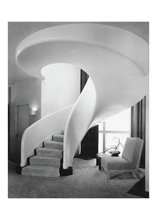 Interior Greeting Card featuring the photograph A Spiral Staircase by Hedrich-Blessing