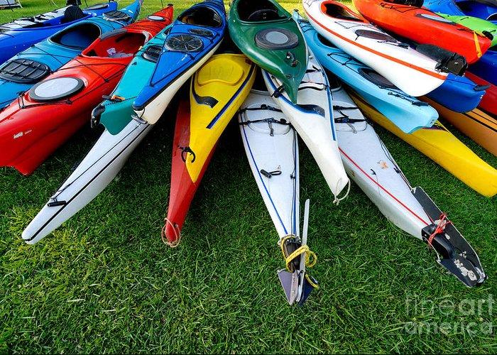 A Lot Greeting Card featuring the photograph A Stack Of Kayaks by Amy Cicconi