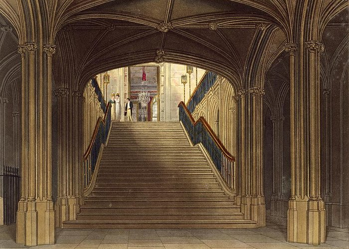 Step Greeting Card featuring the drawing A Staircase, Windsor Castle, From Royal by Charles Wild