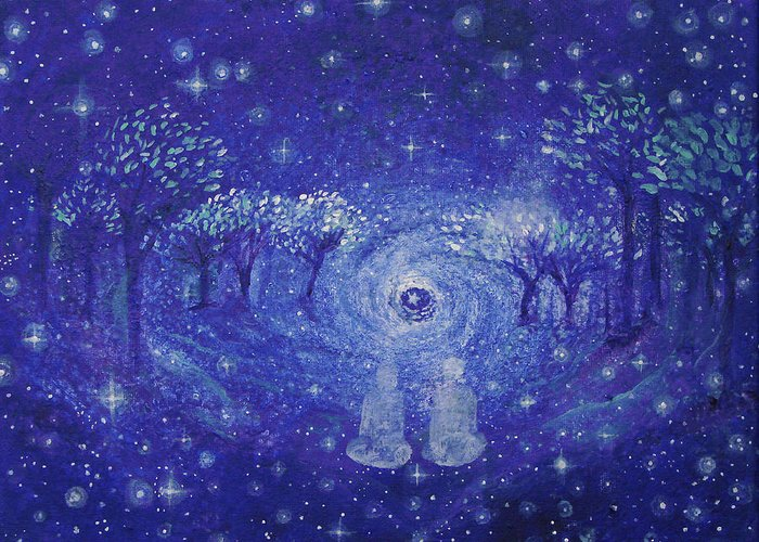 Star Greeting Card featuring the painting A Star Night by Ashleigh Dyan Bayer