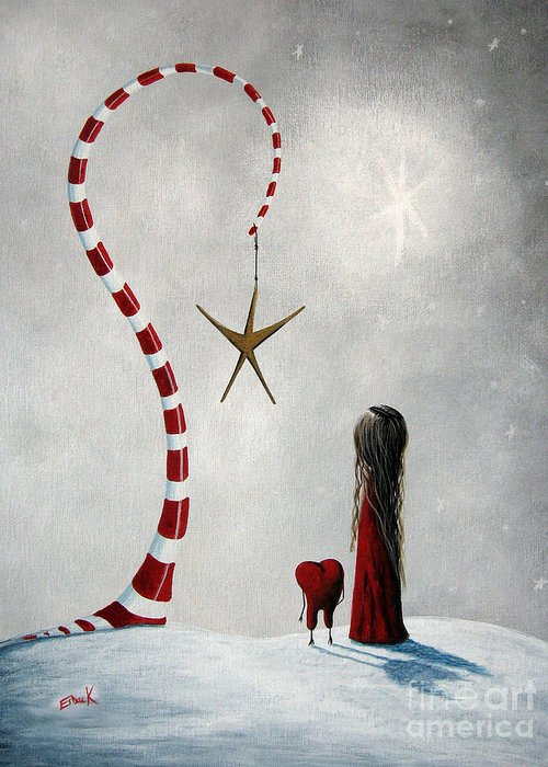 Holiday Greeting Card featuring the painting A Starlit Wish By Shawna Erback by Shawna Erback