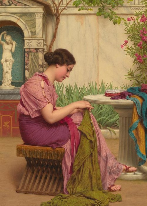 Female; Seated; Classical; Garden; Outdoors; Outside; Fabric; Fabrics; Seamstress; Creating; Making; Material; Profile; Portrait Greeting Card featuring the painting A Stitch Is Free Or A Stitch In Time 1917 by John William Godward
