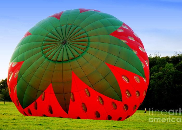 Hot Air Balloons Greeting Card featuring the photograph A Strawberry Balloon by Joe Cashin