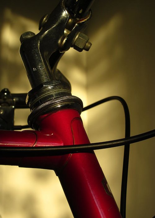 Guy Ricketts Photography Greeting Card featuring the photograph A Study In Scarlet Bicycle by Guy Ricketts