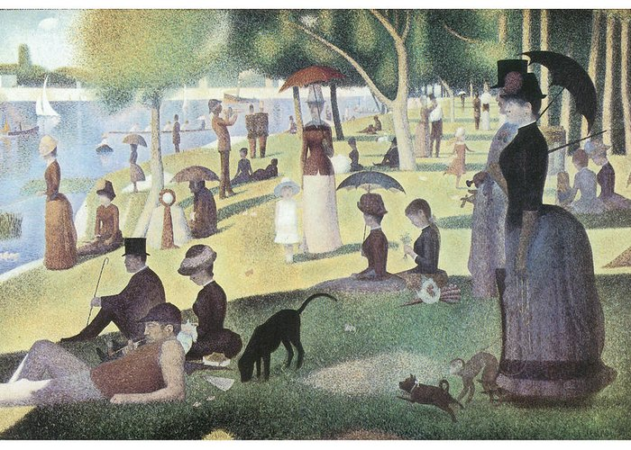 George-pierre Seurat Greeting Card featuring the painting A Sunday Afternoon On The Island Of La Grande Jatte by George-Pierre Seurat
