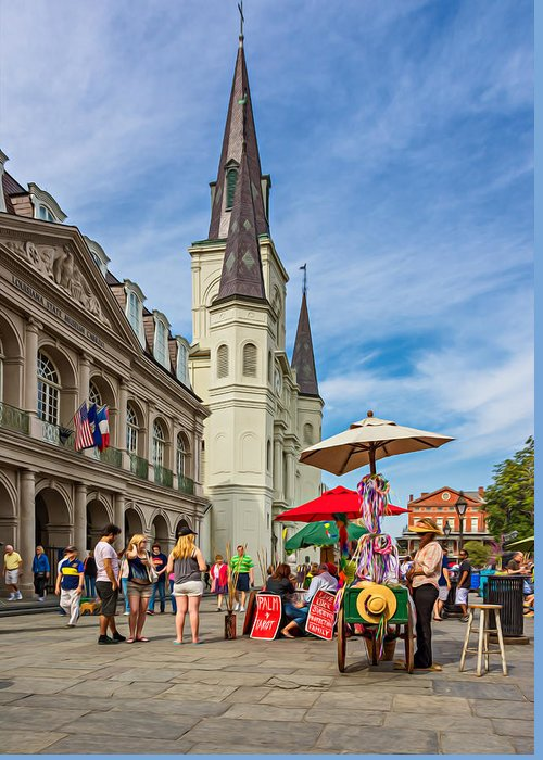 French Quarter Greeting Card featuring the photograph A Sunny Afternoon In Jackson Square Oil by Steve Harrington