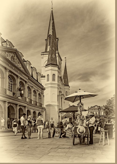 French Quarter Greeting Card featuring the photograph A Sunny Afternoon In Jackson Square Sepia by Steve Harrington