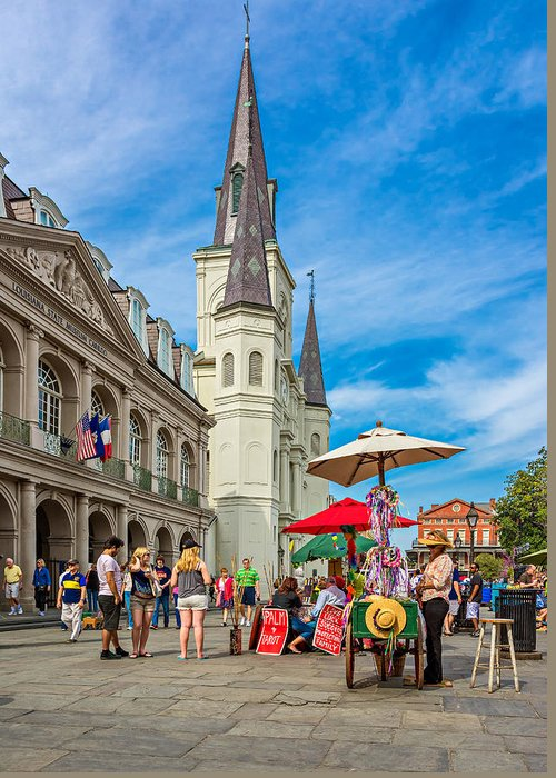 French Quarter Greeting Card featuring the photograph A Sunny Afternoon In Jackson Square by Steve Harrington