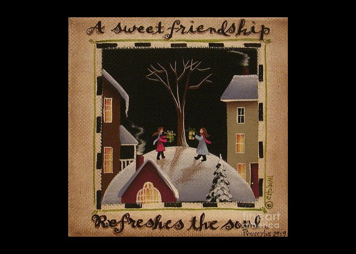 Art Greeting Card featuring the painting A Sweet Friendship Winter by Catherine Holman