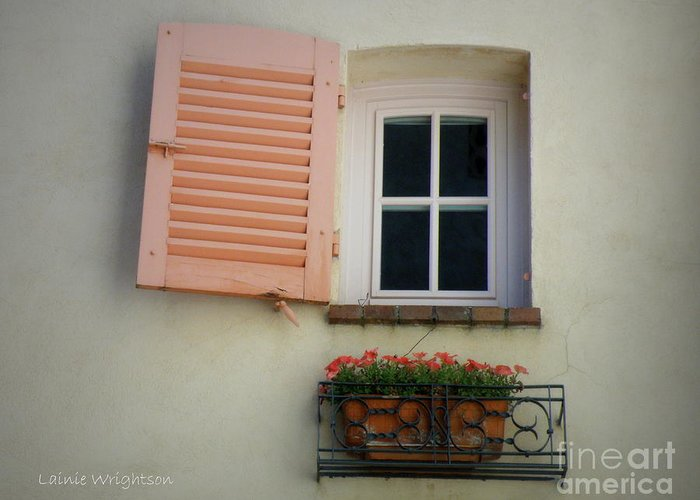 Window Greeting Card featuring the photograph A Sweet Shuttered Window by Lainie Wrightson