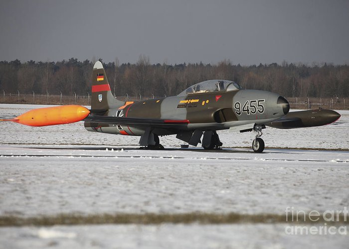 Aircraft Greeting Card featuring the photograph A T-33 Shooting Star Trainer Jet by Timm Ziegenthaler