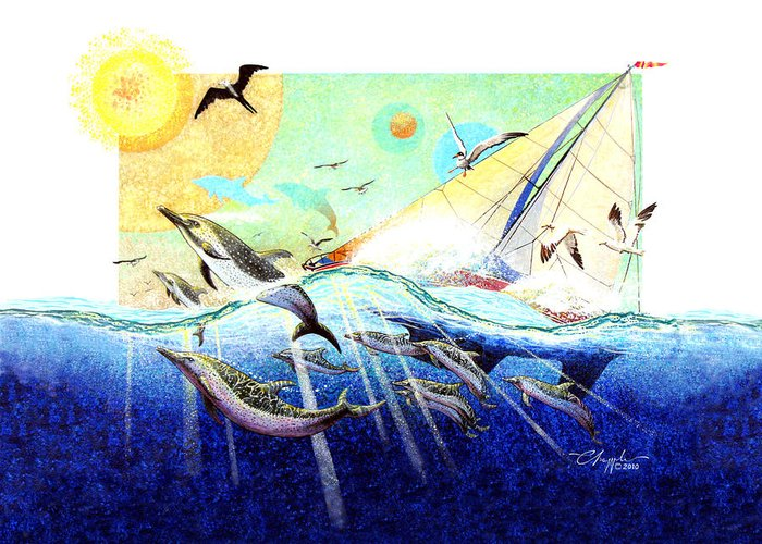 Paradise Greeting Card featuring the painting A Tern With The Dolphins by David Chapple