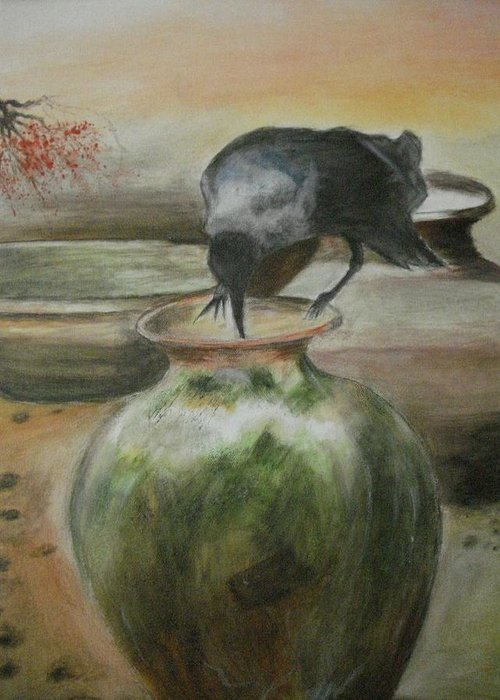 Water Jars Greeting Card featuring the painting A Thirsty Crow by Prasenjit Dhar