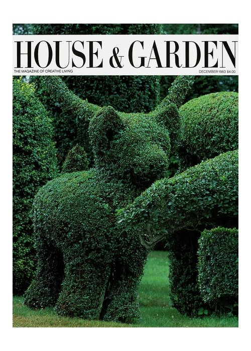Animal Greeting Card featuring the photograph A Topiary Bear In Alice Braytons Green Animals by Horst P. Horst