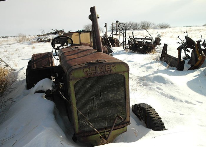 Tractors Greeting Card featuring the photograph A Tractor In The Snow by Jeff Swan