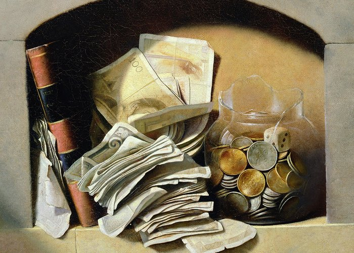 Still-life Greeting Card featuring the painting A Trompe Loeil Of Paper Money Coins by French School