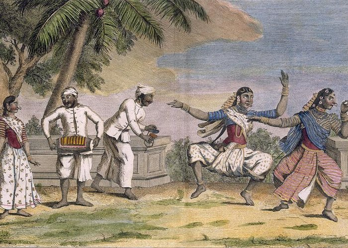 Troupe Greeting Card featuring the drawing A Troupe Of Bayaderes, Or Indian by Pierre Sonnerat