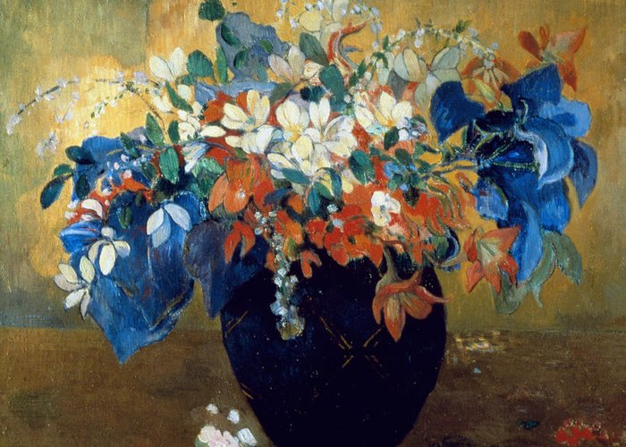 Still-life Greeting Card featuring the painting A Vase Of Flowers by Paul Gauguin
