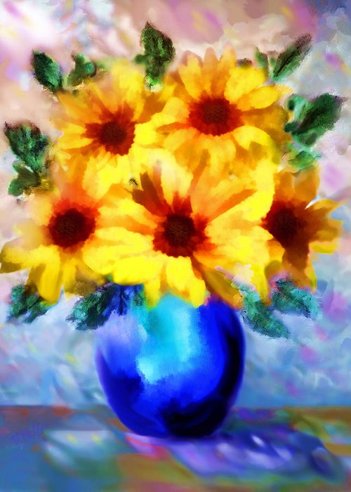 Floral Painting Greeting Card featuring the painting A Vase Of Sunflowers by Valerie Anne Kelly