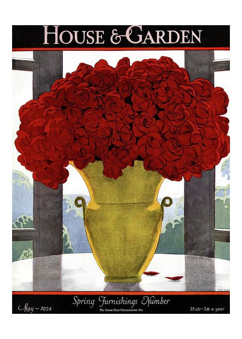 House And Garden Greeting Card featuring the photograph A Vase With Red Roses by Andre E Marty