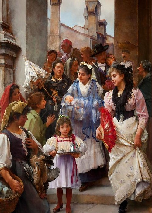 Religious Greeting Card featuring the painting A Venetian Christening Party, 1896 by Henry Woods