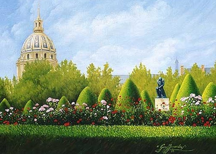 Travel Paintings Greeting Card featuring the painting A View From Rodins Garden In Paris France by Gary Hernandez