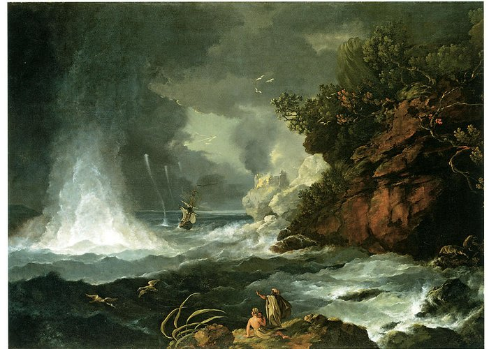 William Hodges Greeting Card featuring the painting A View Of Cape Stephens In Cook's Straits With Waterspout by William Hodges
